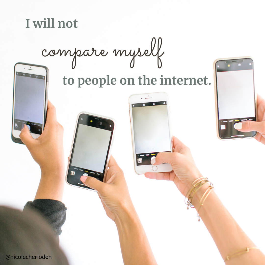 I will not compare myself to people on the internet.